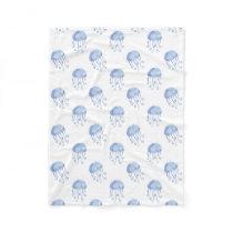 watercolor blue jellyfish beach design fleece blanket