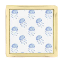 watercolor blue jellyfish beach design gold finish lapel pin