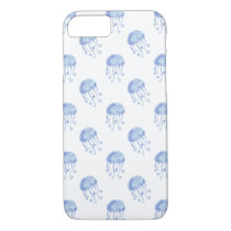 watercolor blue jellyfish beach design iPhone 8/7 case