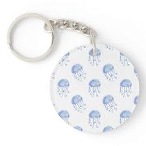 watercolor blue jellyfish beach design keychain