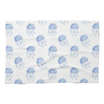 watercolor blue jellyfish beach design kitchen towels
