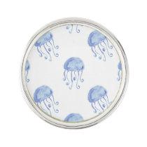 watercolor blue jellyfish beach design lapel pin
