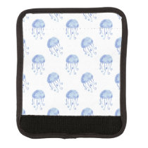 watercolor blue jellyfish beach design luggage handle wrap