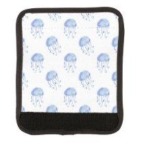 watercolor blue jellyfish beach design luggage handle wrap