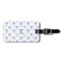 watercolor blue jellyfish beach design luggage tag