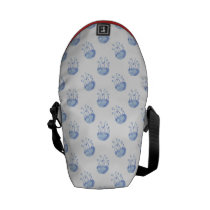 watercolor blue jellyfish beach design messenger bag