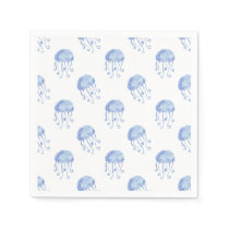 watercolor blue jellyfish beach design paper napkin