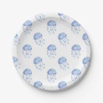 watercolor blue jellyfish beach design paper plate