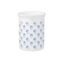 watercolor blue jellyfish beach design pitcher