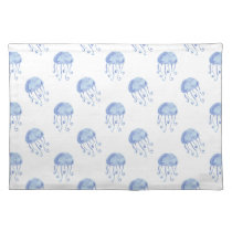watercolor blue jellyfish beach design placemat
