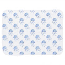 watercolor blue jellyfish beach design receiving blanket