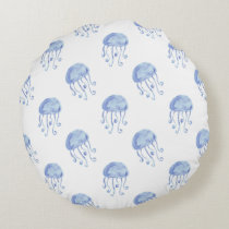 watercolor blue jellyfish beach design round pillow