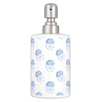 watercolor blue jellyfish beach design soap dispenser and toothbrush holder