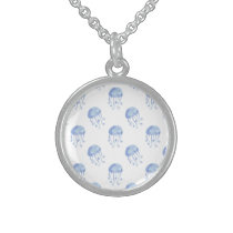 watercolor blue jellyfish beach design sterling silver necklace