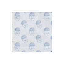 watercolor blue jellyfish beach design stone magnet