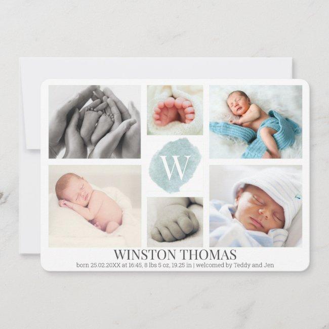 Watercolor Blue Monogram Photo Collage Boy Birth Announcement