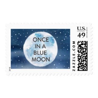 Watercolor Blue Moon Wedding Stamp