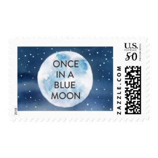 Watercolor Blue Moon Wedding Stamp