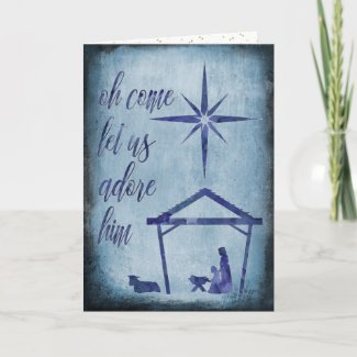 Watercolor Blue Nativity Christmas Greeting Card