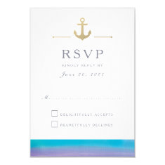 Watercolor Blue Nautical White Response RSVP Card
