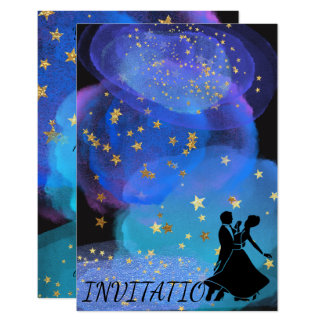 Watercolor Blue Ocean Night Sky Starry Dance Party Card