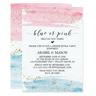 watercolor blue or pink gender reveal party invitation