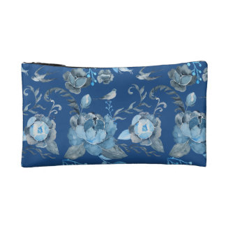 Watercolor blue peony and swallow pattern Bag