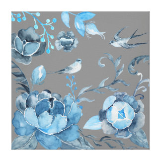 Watercolor Blue peony and swallows on Canvas
