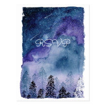Watercolor Blue Pine Trees Wedding RSVP Postcard
