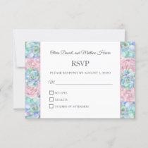 Watercolor blue pink succulents. Cactus wedding RSVP Card