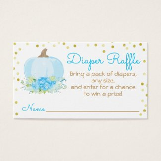 Watercolor Blue Pumpkin Baby Shower Diaper Raffle