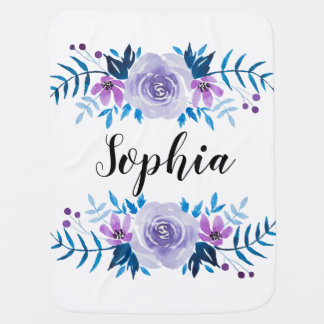 Watercolor Blue Purple Floral Wreath Custom Text Receiving Blanket
