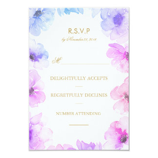 Watercolor Blue Purple Floral Wreath Wedding Rsvp Card