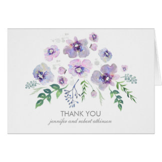 Watercolor Blue Purple Flowers Wedding Thank You
