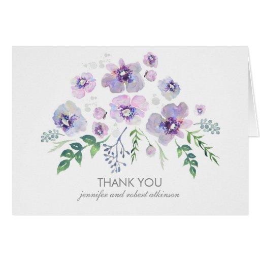 watercolor blue purple flowers wedding thank you card zazzle