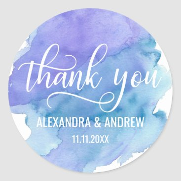 Watercolor Blue Purple Wedding Thank You Classic Round Sticker