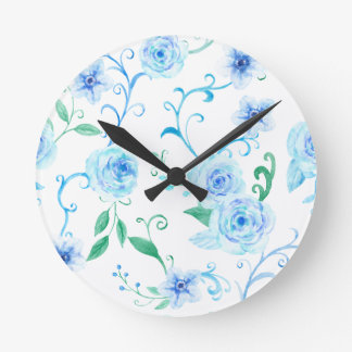 Watercolor Blue Rose Pattern Round Clock
