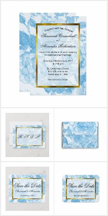 Watercolor Blue Roses Floral Wedding