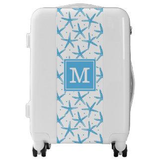 Watercolor Blue Sea Stars Pattern | Add Your Initi Luggage