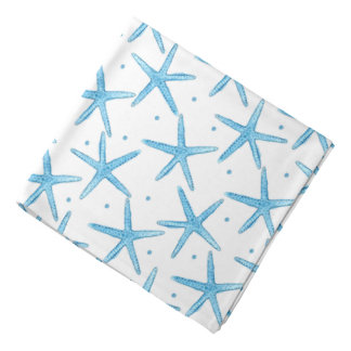 Watercolor Blue Sea Stars Pattern Bandana