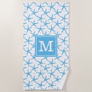 Beach Themed Watercolor Blue Sea Stars Pattern Beach Towel