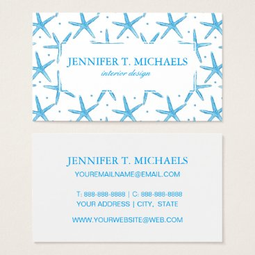 Beach Themed Watercolor Blue Sea Stars Pattern Business Card