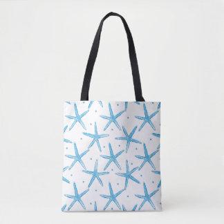 Watercolor Blue Sea Stars Pattern Tote Bag