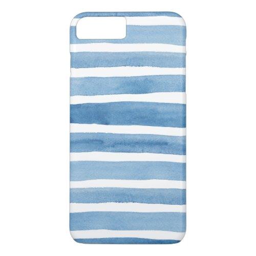 Watercolor blue stripes. Modern case. Nautical Phone Case