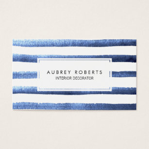 Nautical design business cards templates zazzle watercolor blue stripes pattern professional business card reheart Choice Image