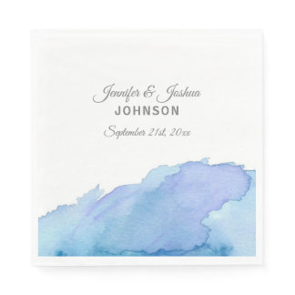 Watercolor Blue Teal Turquoise Water Wedding Napkin