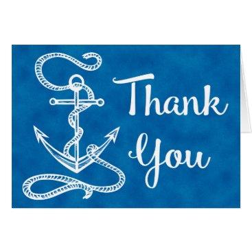 Beach Themed Watercolor Blue Thank You Nautical Ship Anchor Card