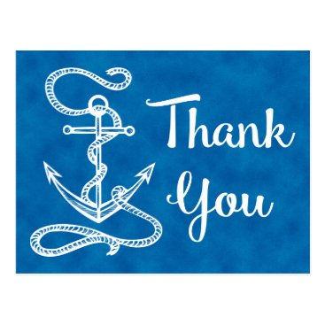 Beach Themed Watercolor Blue Thank You Nautical Ship Anchor Postcard