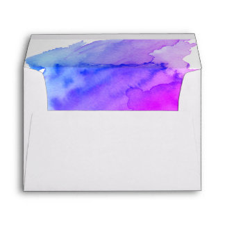 Watercolor Blue Violet Purple Return Address Envelope