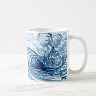 Watercolor Blue Wave Contemporary Modern Decor Coffee Mug
